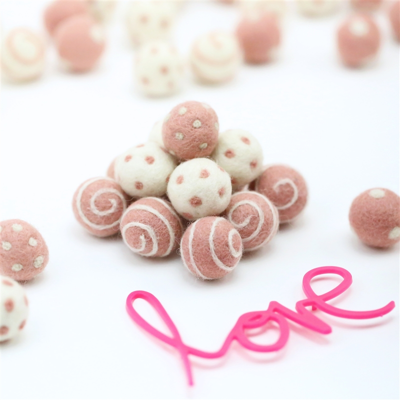 Felt Balls -  Cotton Candy Dots & Swirls