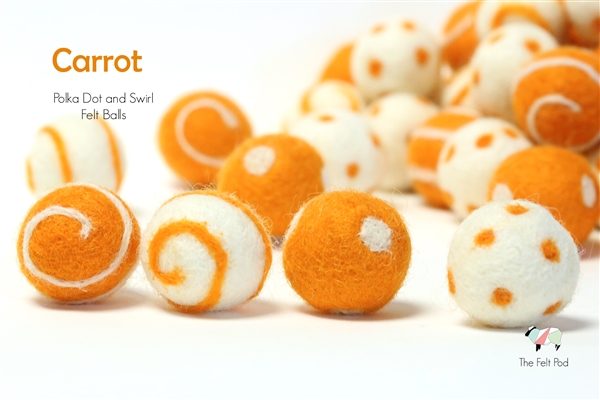 Felt Balls -  Carrot Dots & Swirls