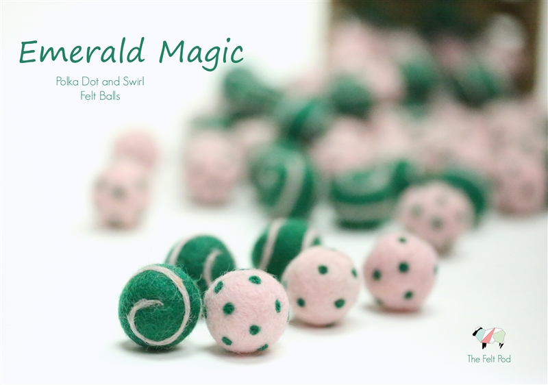 Felt Balls -  Emerald Magic