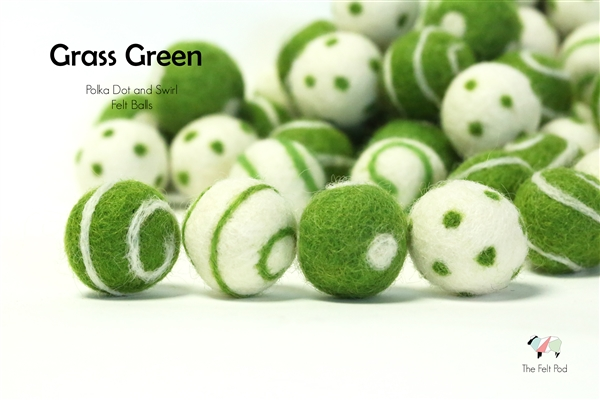Felt Balls -  Grass Green Dots & Swirls