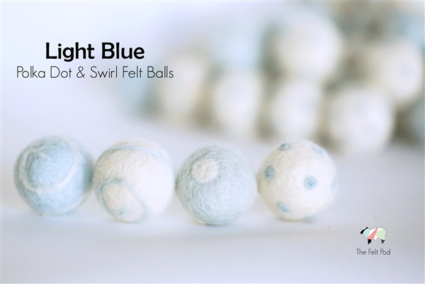 Felt Balls -  Light Blue Dots & Swirls