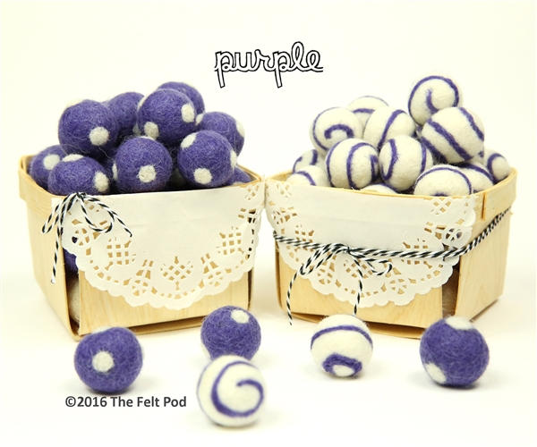 Felt Balls -  Purple Dots & Swirls