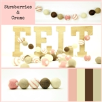 Felt Balls MIX -  Strawberries & Creme