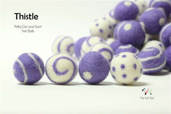 Felt Balls -  Thistle Dots & Swirls