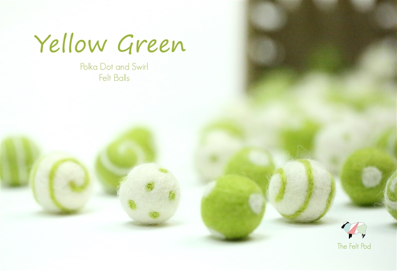 Felt Balls -  Yellow Green Dots & Swirls