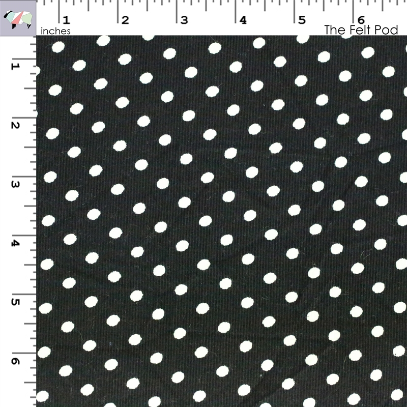 Corduroy - Black with White Dots
