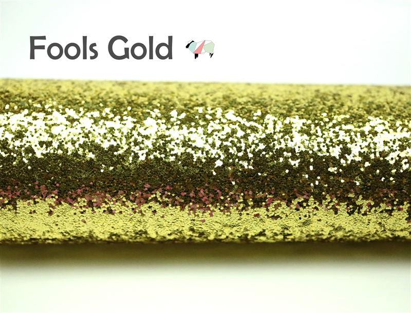 DIY Craft Supplies 8x11 inches Chunky Glitter Fabric Sheet FOOLS GOLD Gold White Iridescent White Canvas Back,