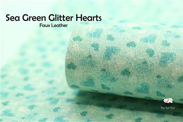 Sea Green Glitter Hearts