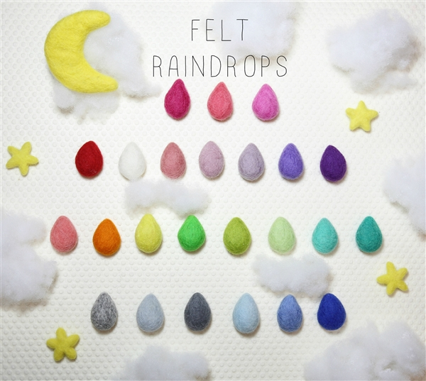 Felt Raindrops - Red - $5.50