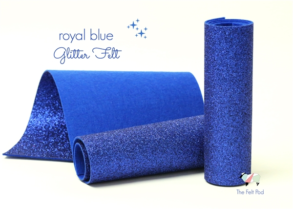 Royal Blue Glitter Felt