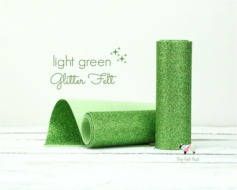 Light Green Glitter Felt