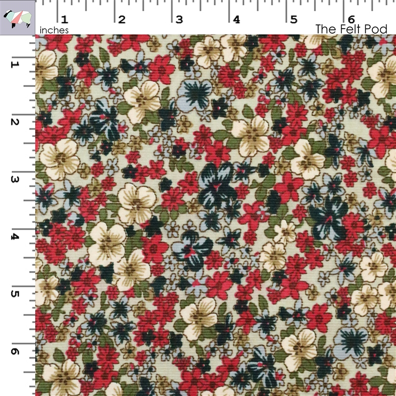 Corduroy - Gray Floral