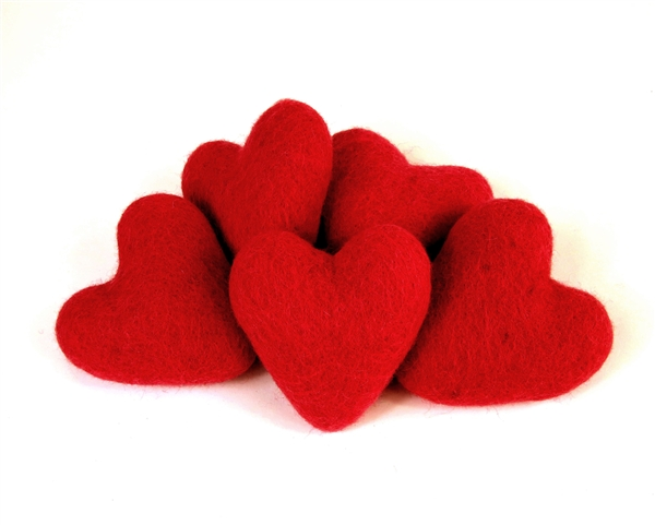 Felt Hearts 9cm - Red