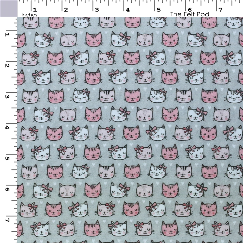 Pink Cats on Gray