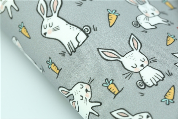 Bunny Rabbits & Carrots on Gray