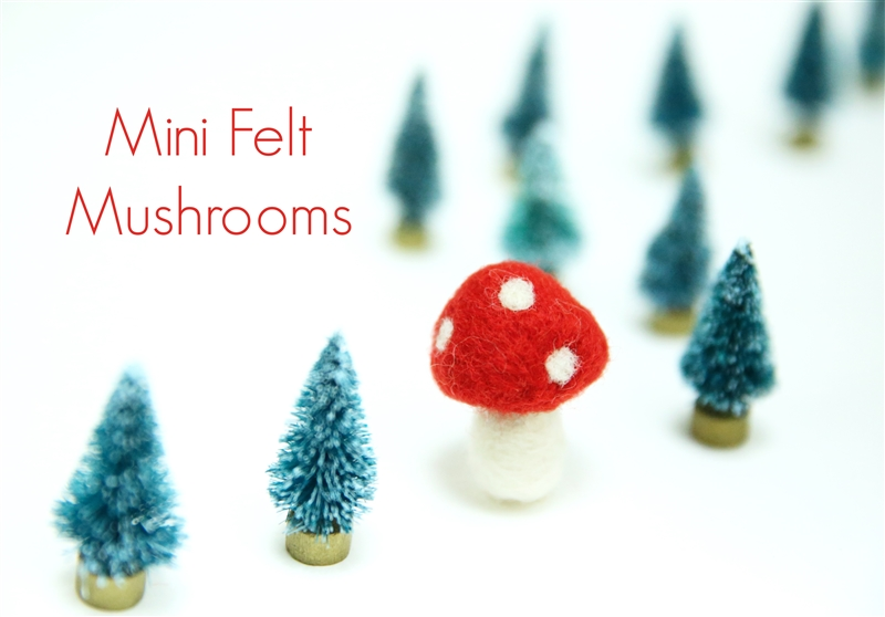 Mini Felt Mushrooms - Red