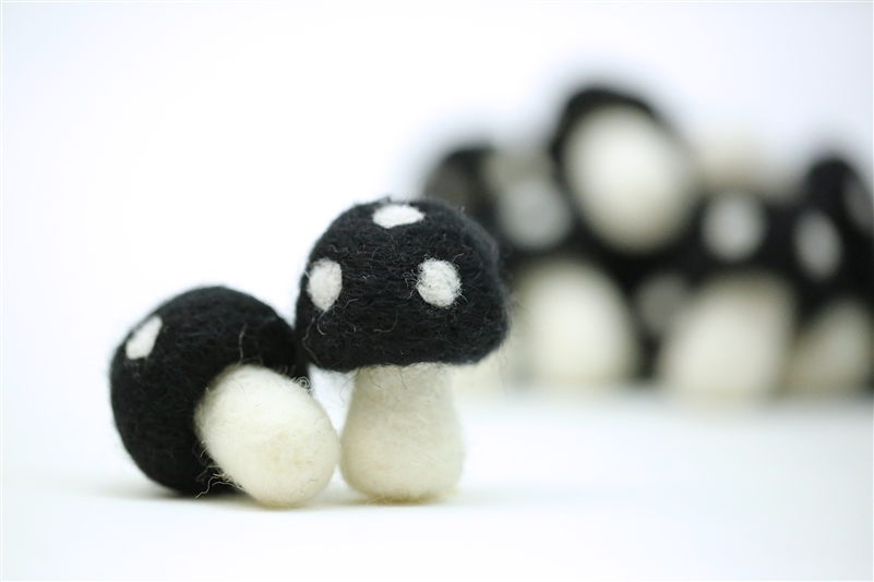 Felt Mushrooms - Black