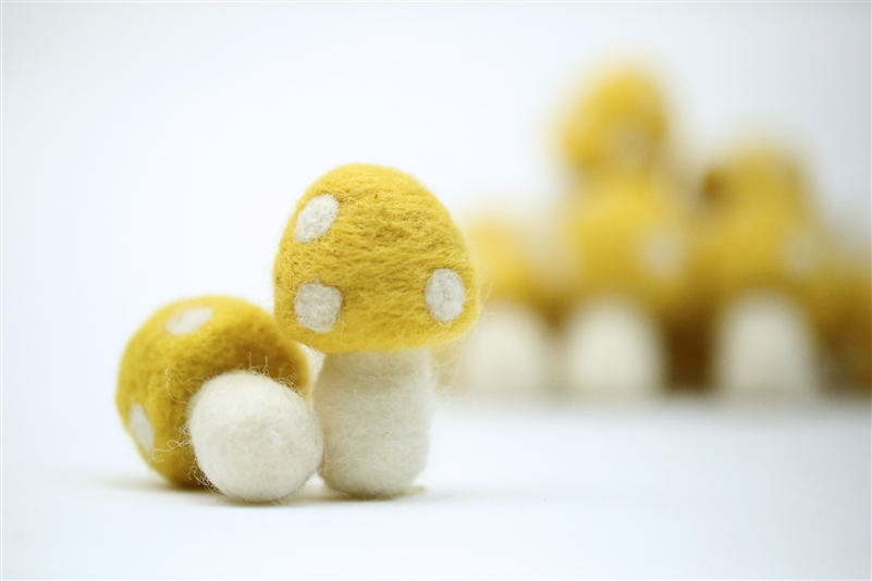 Felt Mushrooms - Canary Yellow