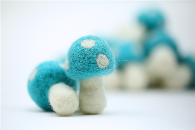 Felt Mushrooms - Cyan