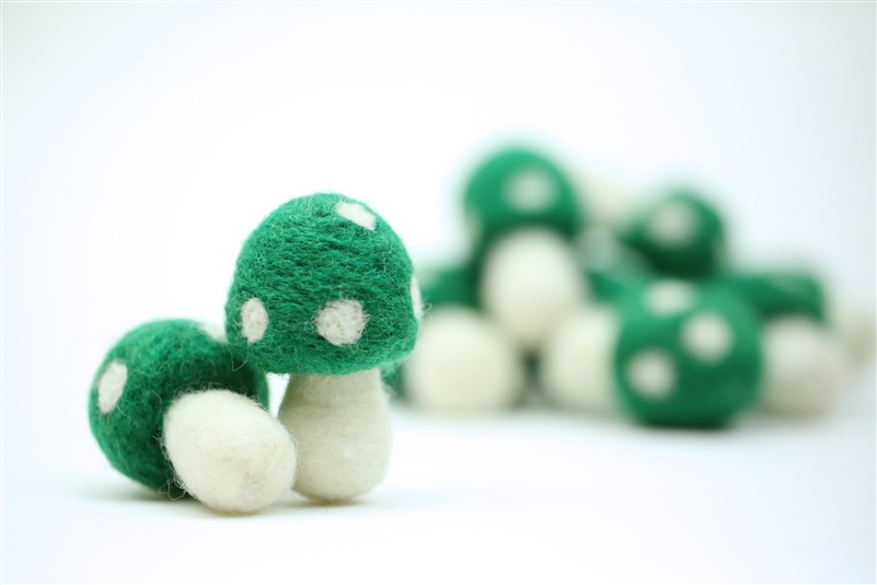 Felt Mushrooms - Emerald