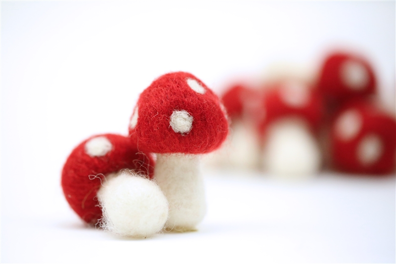 Felt Mushrooms - Red