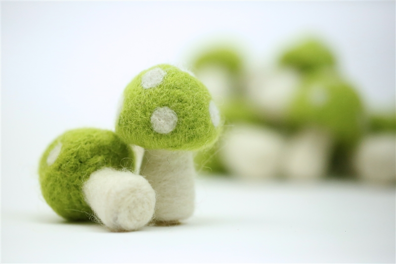 Felt Mushrooms - Yellow Green
