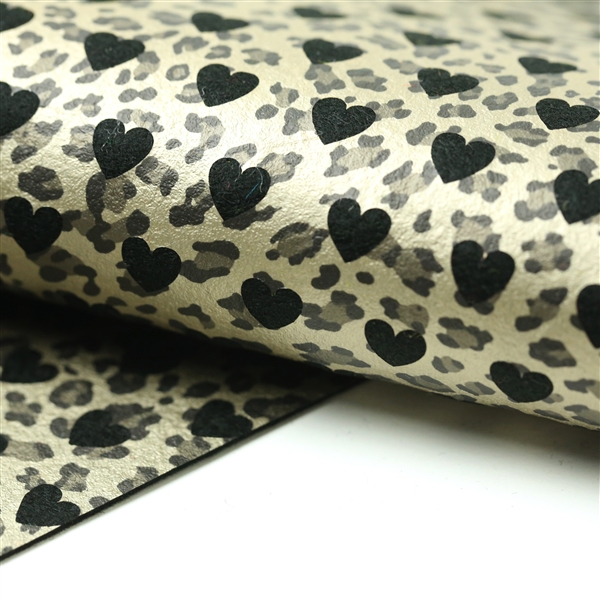 Reverse Gold Leopard Hearts on Black