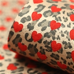 Reverse Gold Leopard Hearts on Red