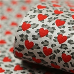 Reverse Silver Leopard Hearts on Red