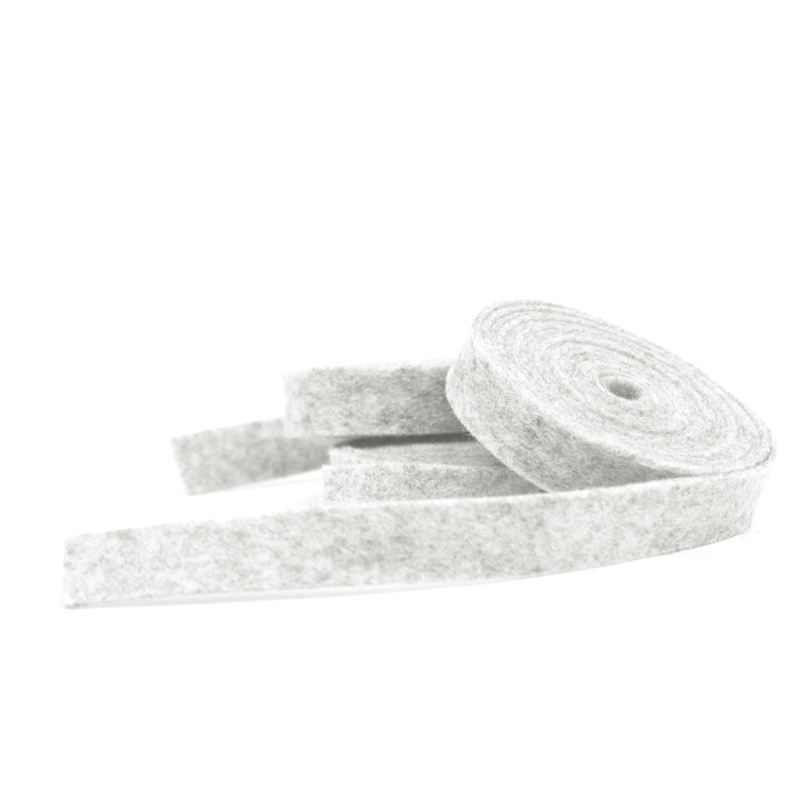 Heather White Wool Felt Ribbon