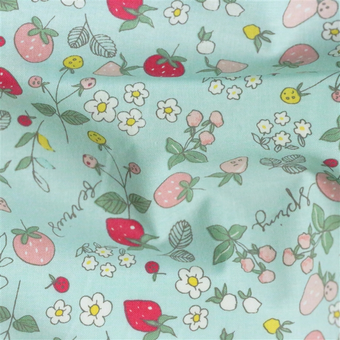 Serendipity Strawberries Riley Blake Cotton Fabric Aqua Blue