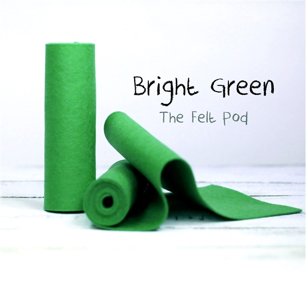 Bright Green Wool Felt Roll