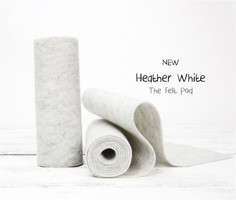 Heather White Wool Felt Roll