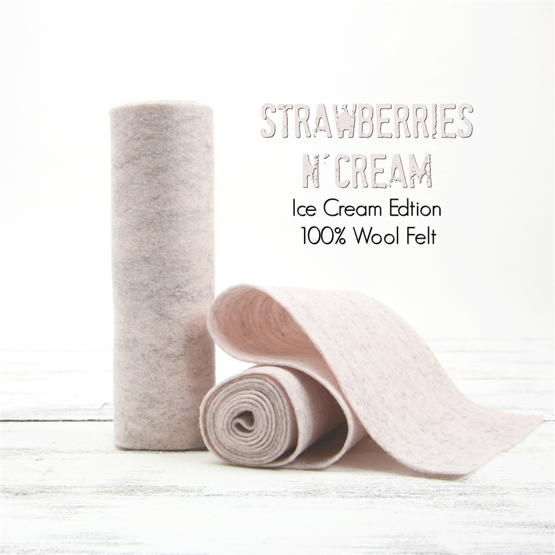 Strawberries N' Cream Wool Felt Roll