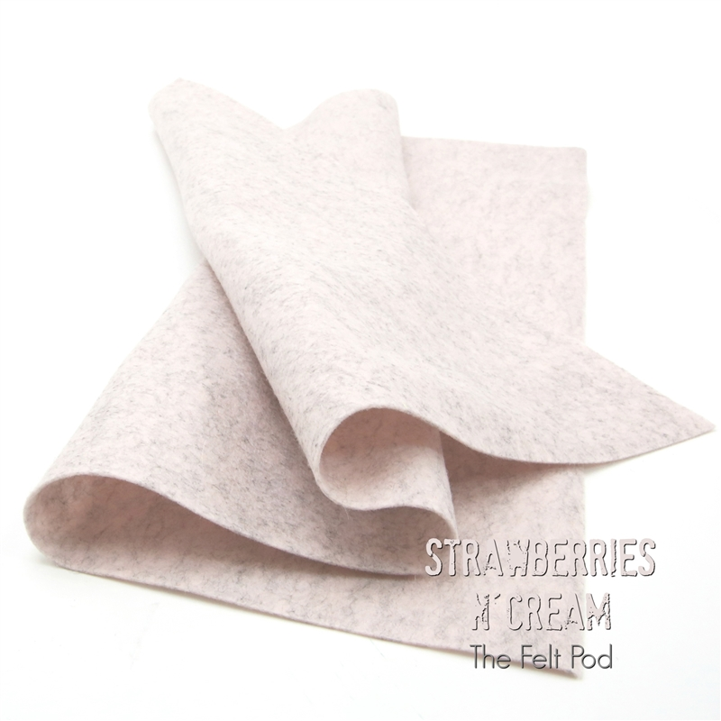 Strawberries N' Cream Wool Felt Sheet