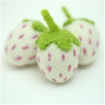 Felt Strawberries - White w/Brilliant Rose
