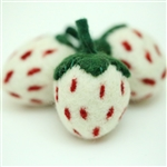 Felt Strawberries - White w/Red