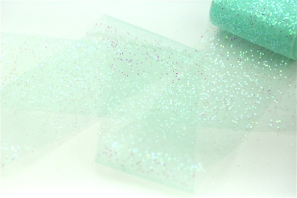 Light Aqua Iridescent Glitter tulle