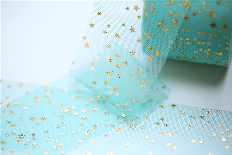 Aqua Gold Star Tulle