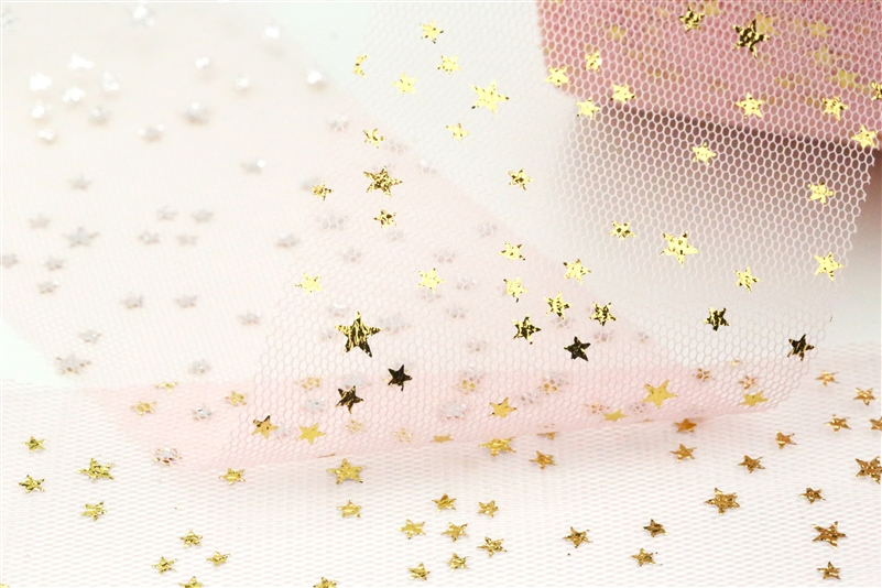 Creamy Pink Gold Star Tulle