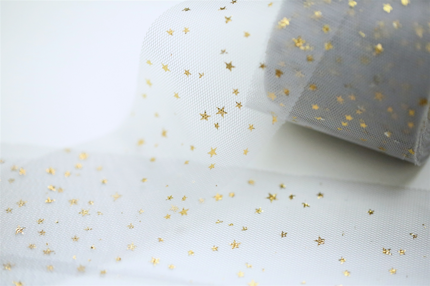 Gray Gold Star Tulle 2 Quot Wide Ultra Soft Tulle Ribbon