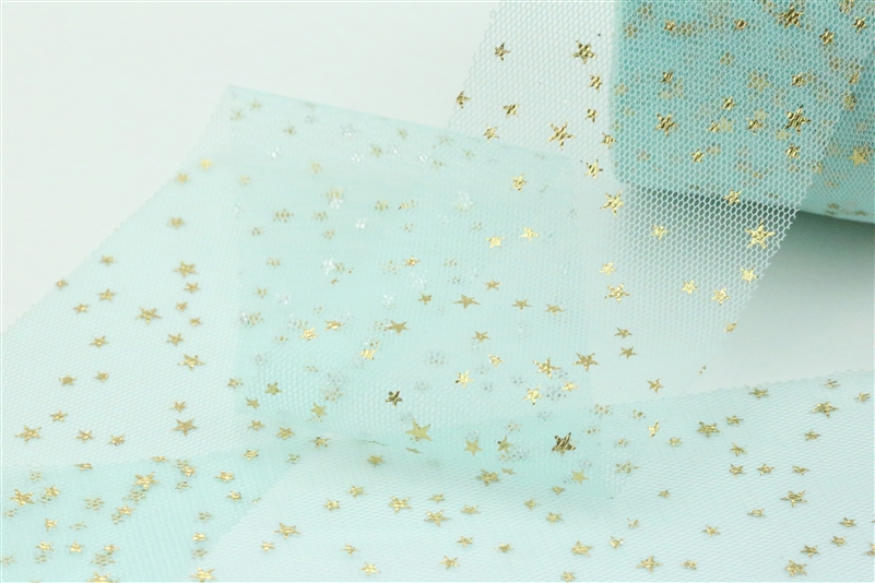 Light Mint Gold Star Tulle
