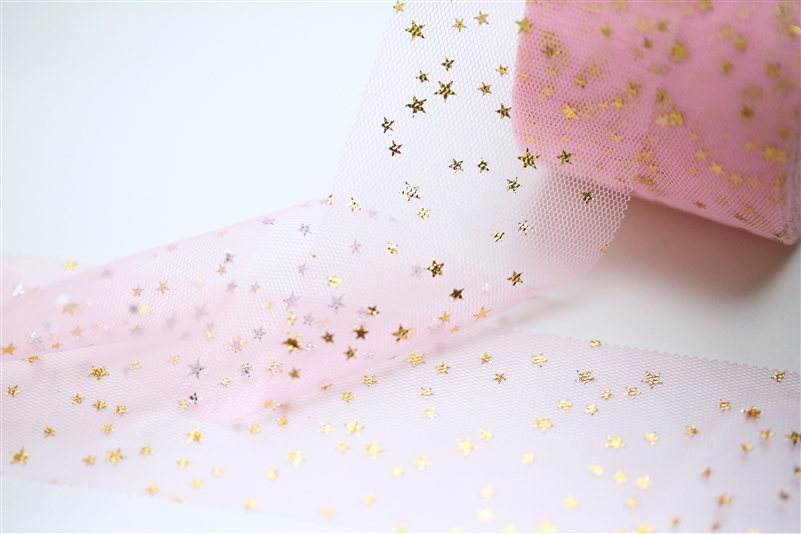 Light Pink Gold Star Tulle