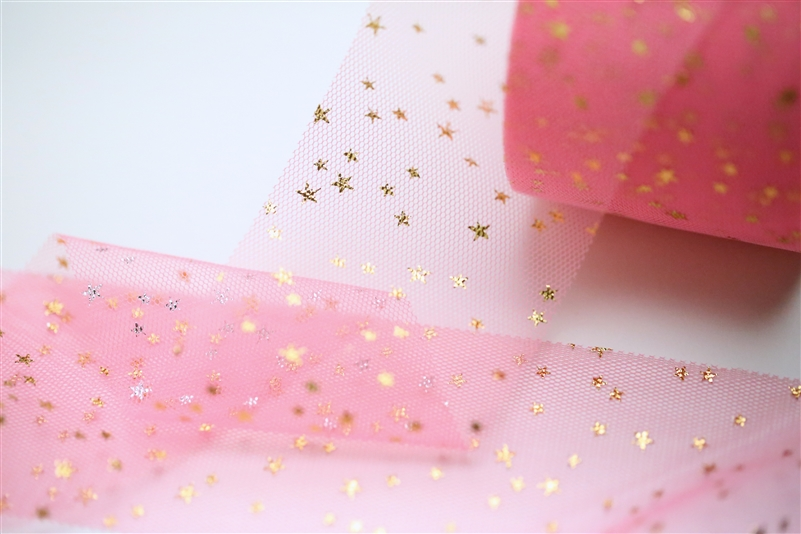 Neon Pink Gold Star Tulle