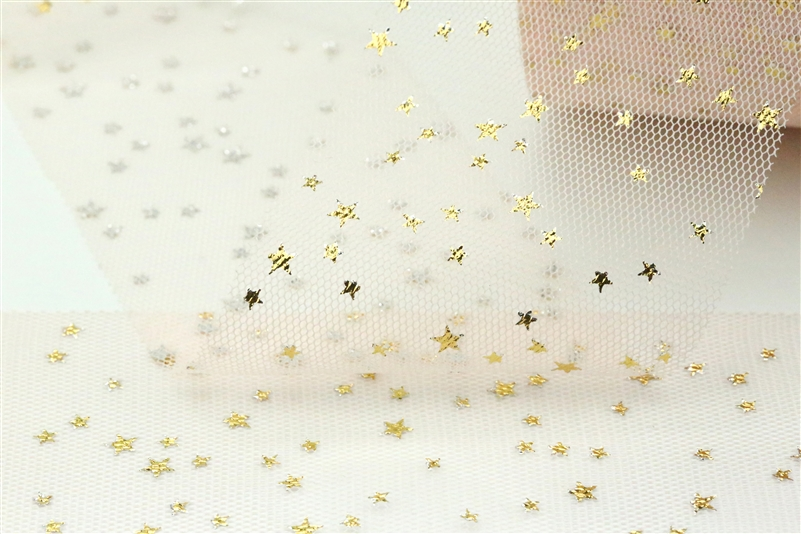 Peach Gold Star Tulle
