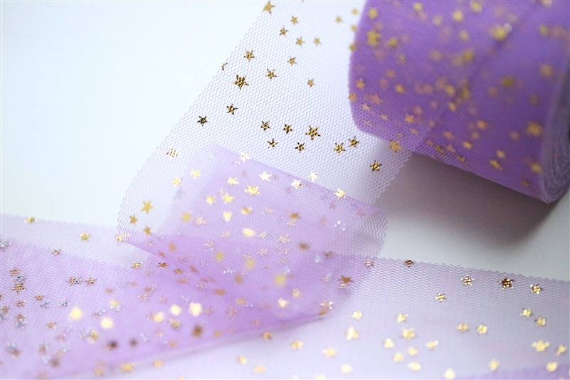 Purple Gold Star Tulle