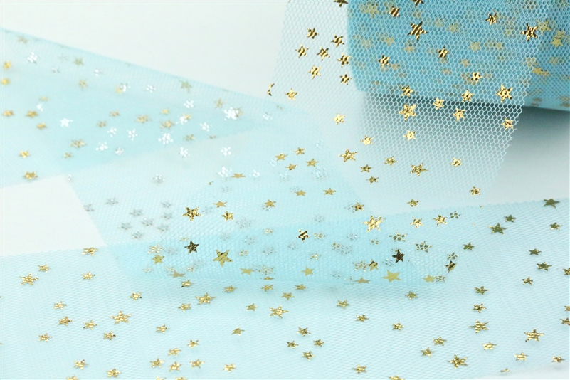 Tiffany Blue Gold Star Tulle