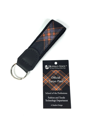 Buffalo State College Tartan Leather Key Fob