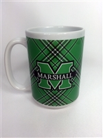 Officially Licensed Marshall University Tartan Ceramic Mug.  15 Ounce.  Enjoy your morning joe with the Marshall University Tartan Ceramic Mug.  Start your day with Thundering Herd Pride!