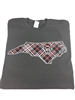 North Carolina State University Tartan Gray T-shirt with Wolf Head